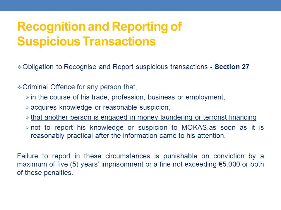 Recognition and Reporting of Suspicious Transactions
