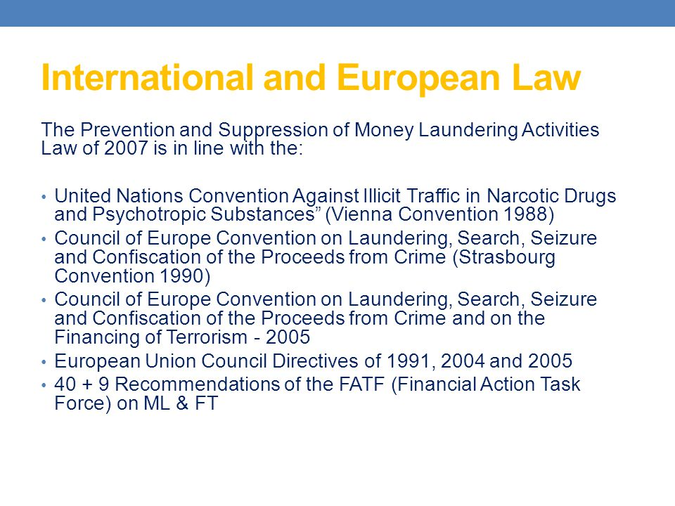 International and European Law