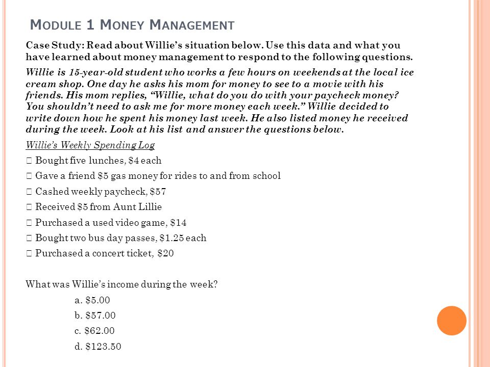 Module 1 Money Management