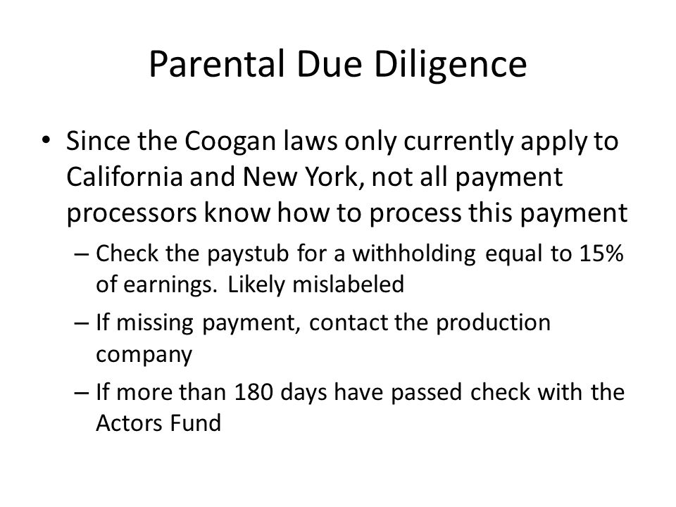 Parental Due Diligence