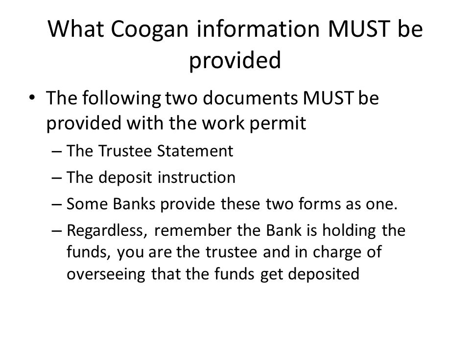 What Coogan information MUST be provided