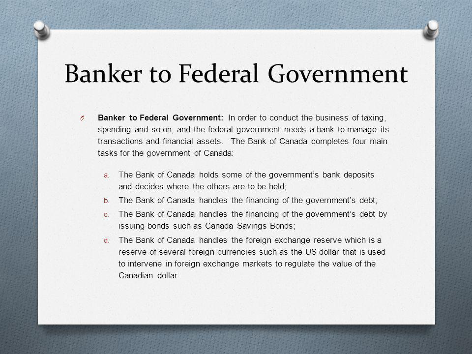 Banker to Federal Government