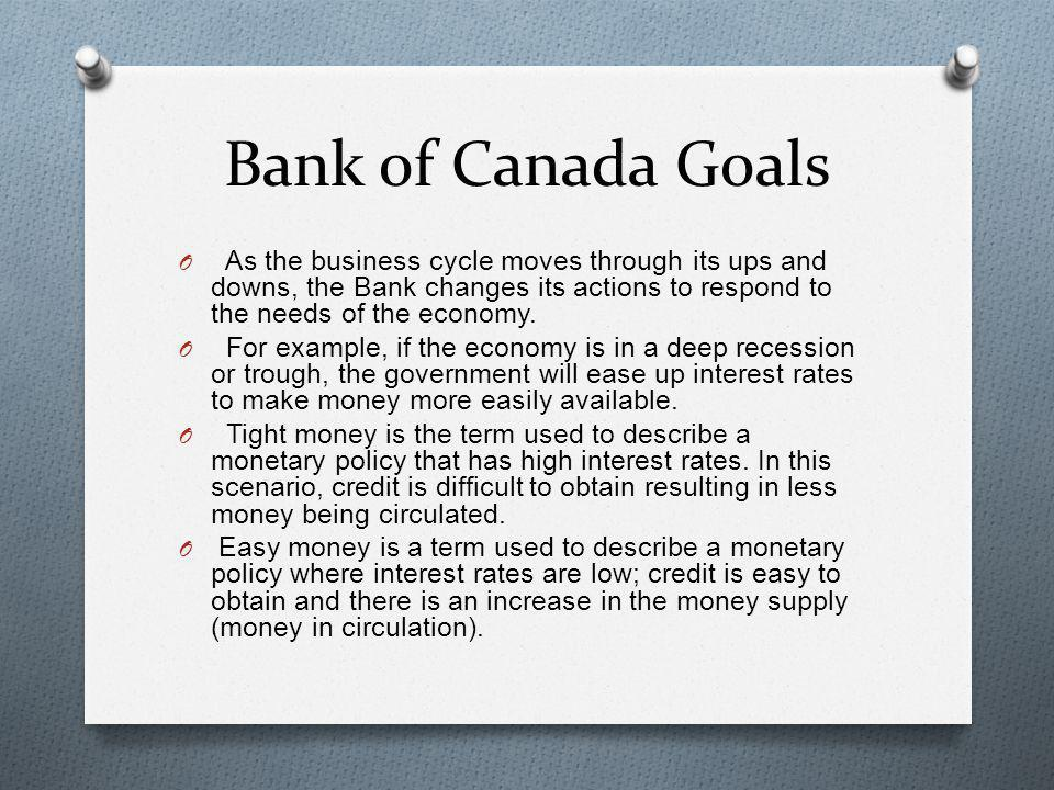 Bank of Canada Goals As the business cycle moves through its ups and downs, the Bank changes its actions to respond to the needs of the economy.