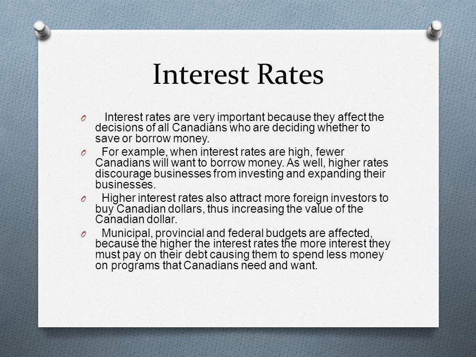 Interest Rates Interest rates are very important because they affect the decisions of all Canadians who are deciding whether to save or borrow money.
