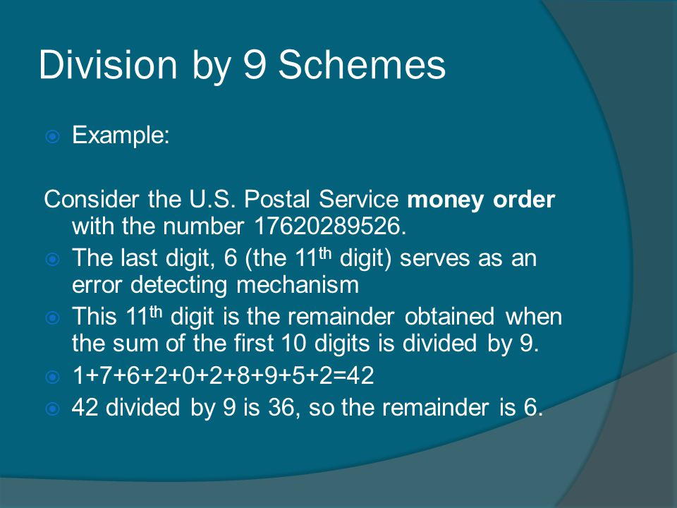 Division by 9 Schemes Example: