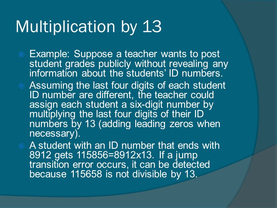 Multiplication by 13
