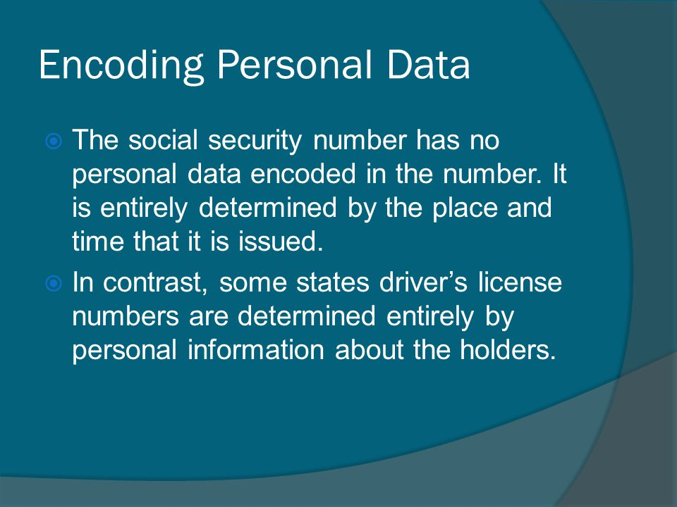 Encoding Personal Data