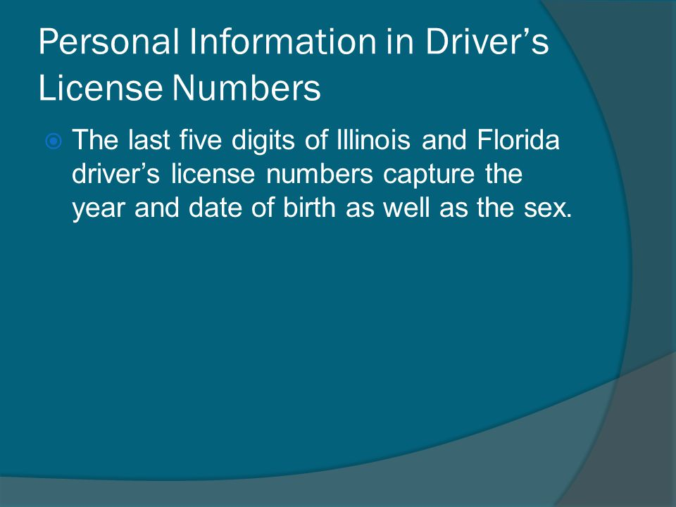 Personal Information in Driver's License Numbers