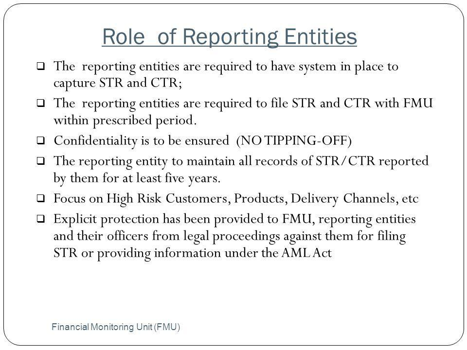 Role of Reporting Entities