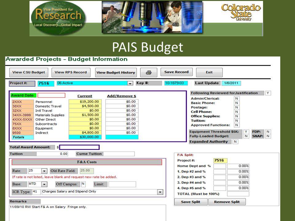 PAIS Budget