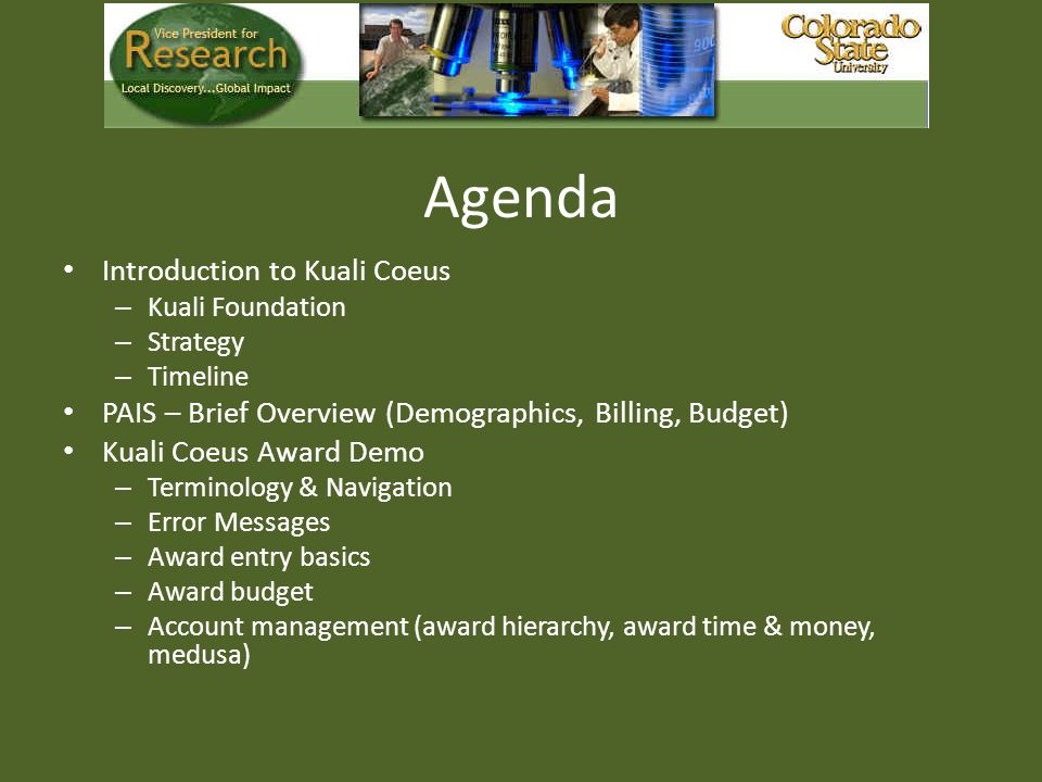 Agenda Introduction to Kuali Coeus