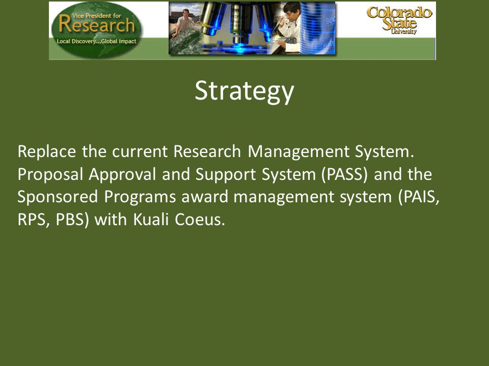 Strategy Replace the current Research Management System.