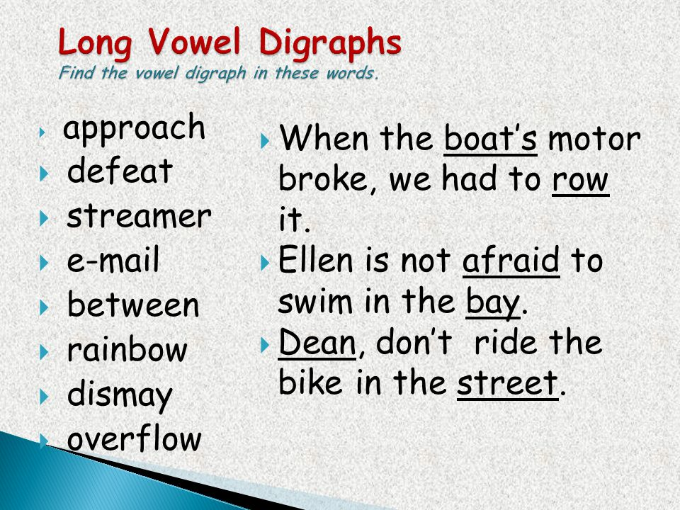 Long Vowel Digraphs Find the vowel digraph in these words.