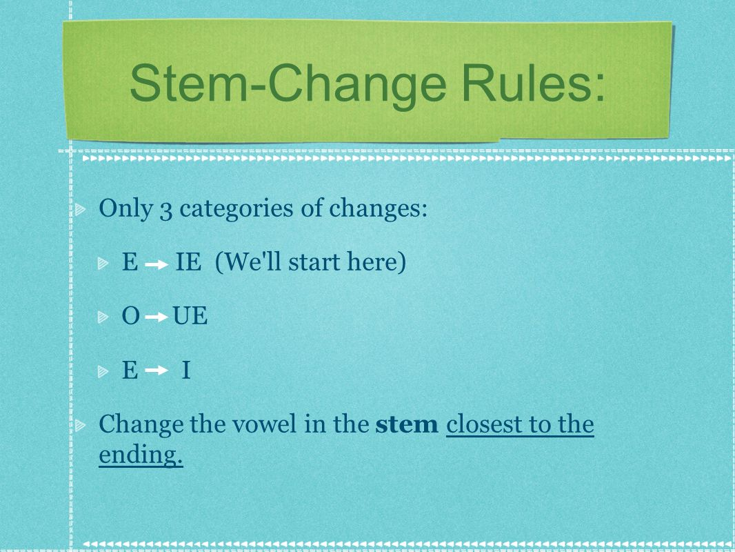 Stem-Change Rules: Only 3 categories of changes: