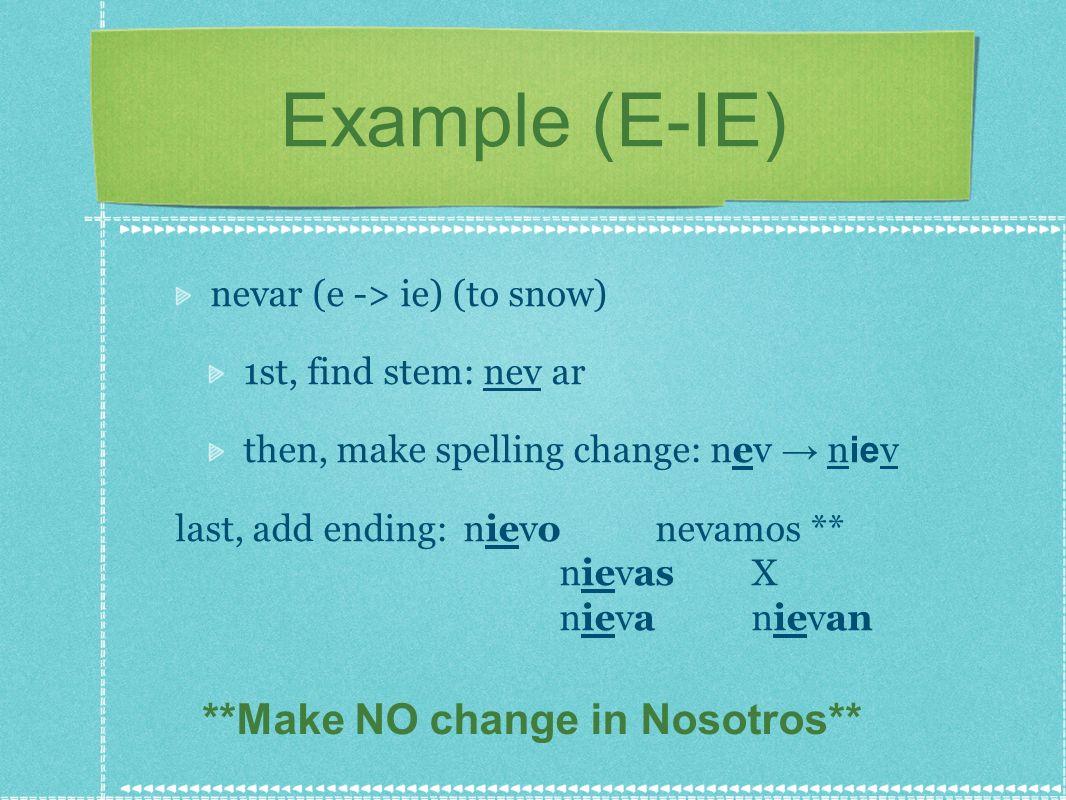 **Make NO change in Nosotros**