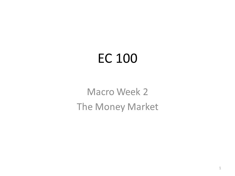 Macro Week 2 The Money Market