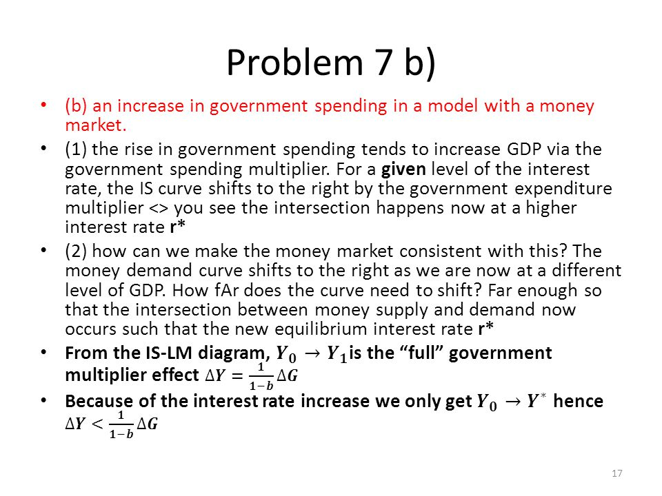 Problem 7 b) (b) an increase in government spending in a model with a money market.