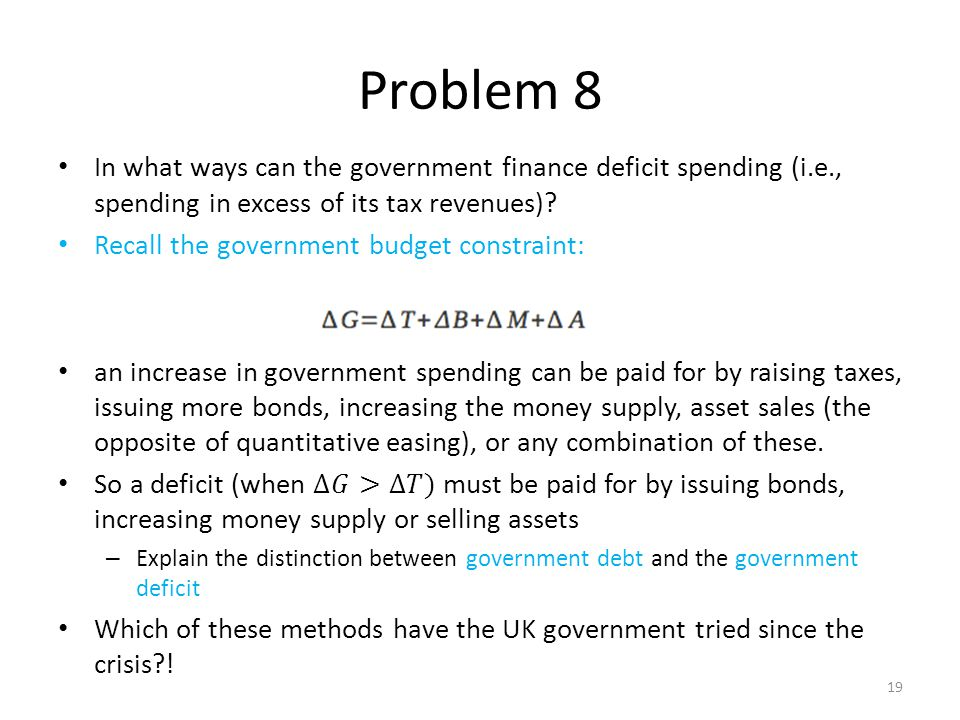 Problem 8 In what ways can the government finance deficit spending (i.e., spending in excess of its tax revenues)