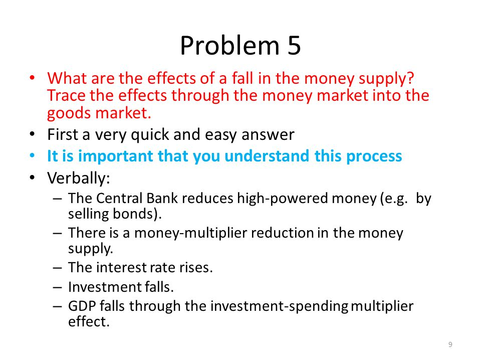 Problem 5 What are the effects of a fall in the money supply Trace the effects through the money market into the goods market.