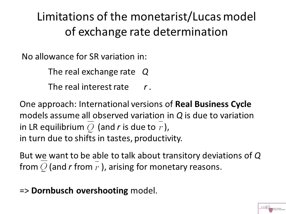 Limitations of the monetarist/Lucas model of exchange rate determination
