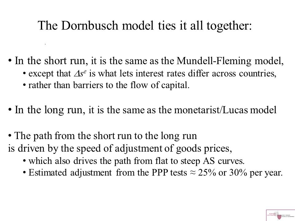 The Dornbusch model ties it all together: