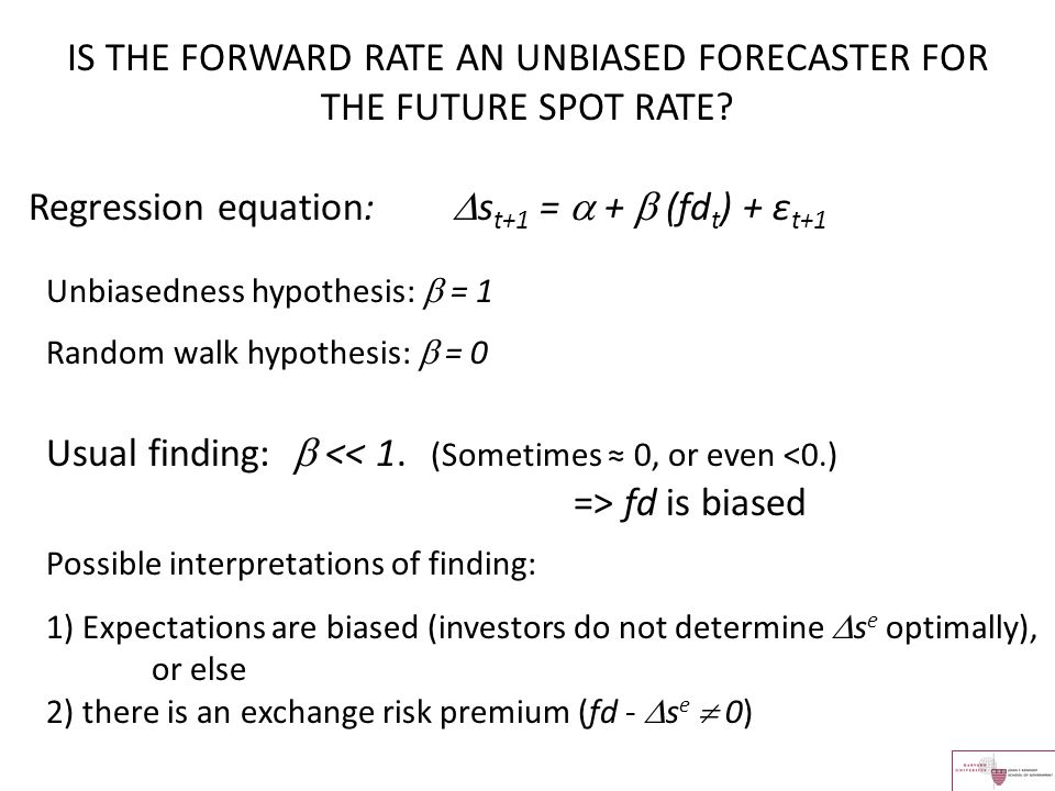 IS THE FORWARD RATE AN UNBIASED FORECASTER FOR THE FUTURE SPOT RATE