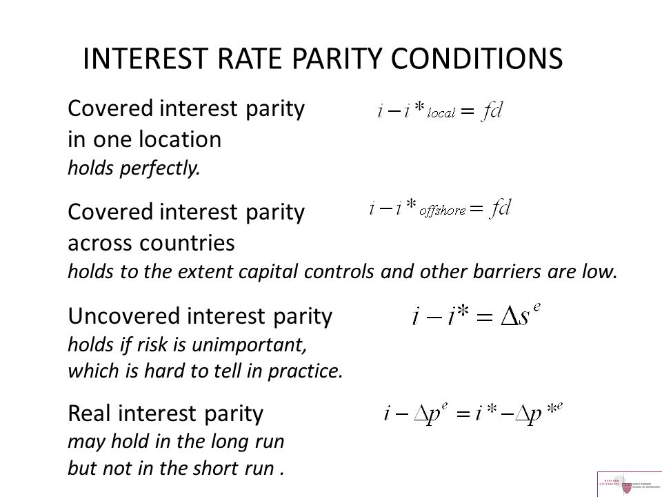 INTEREST RATE PARITY CONDITIONS