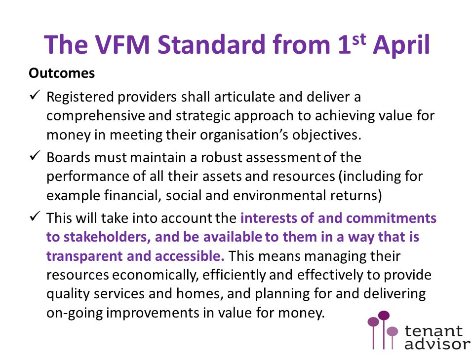 The VFM Standard from 1st April