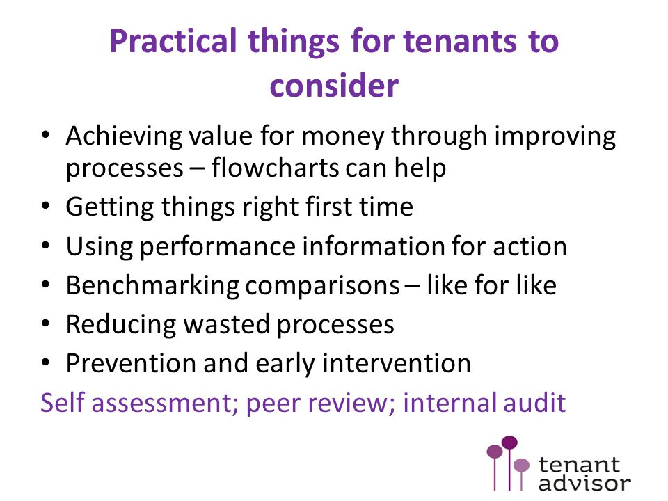 Practical things for tenants to consider