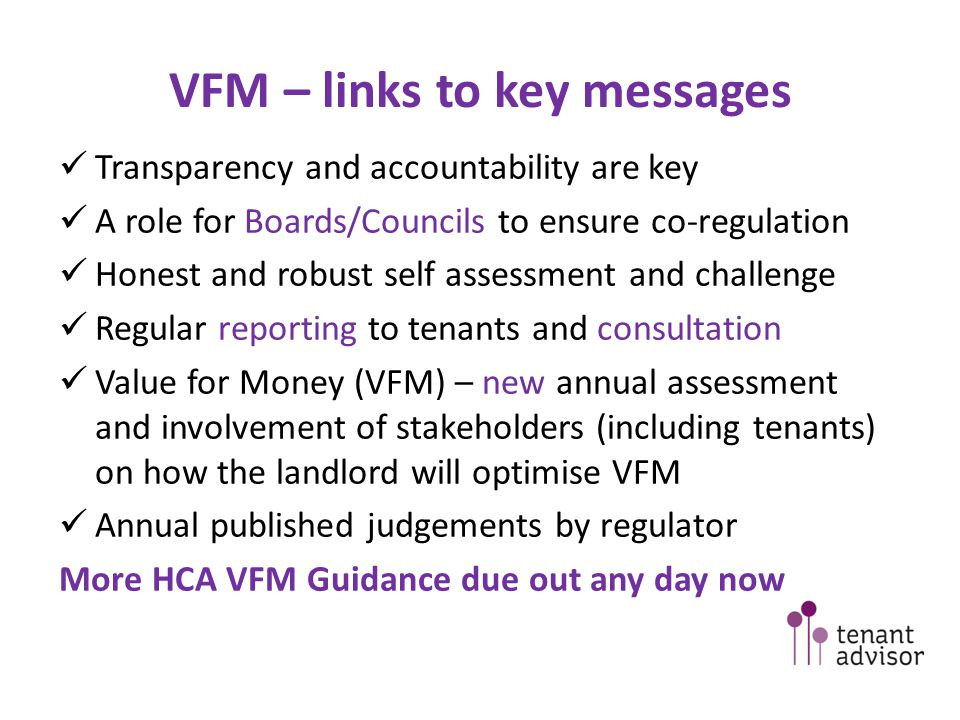 VFM – links to key messages