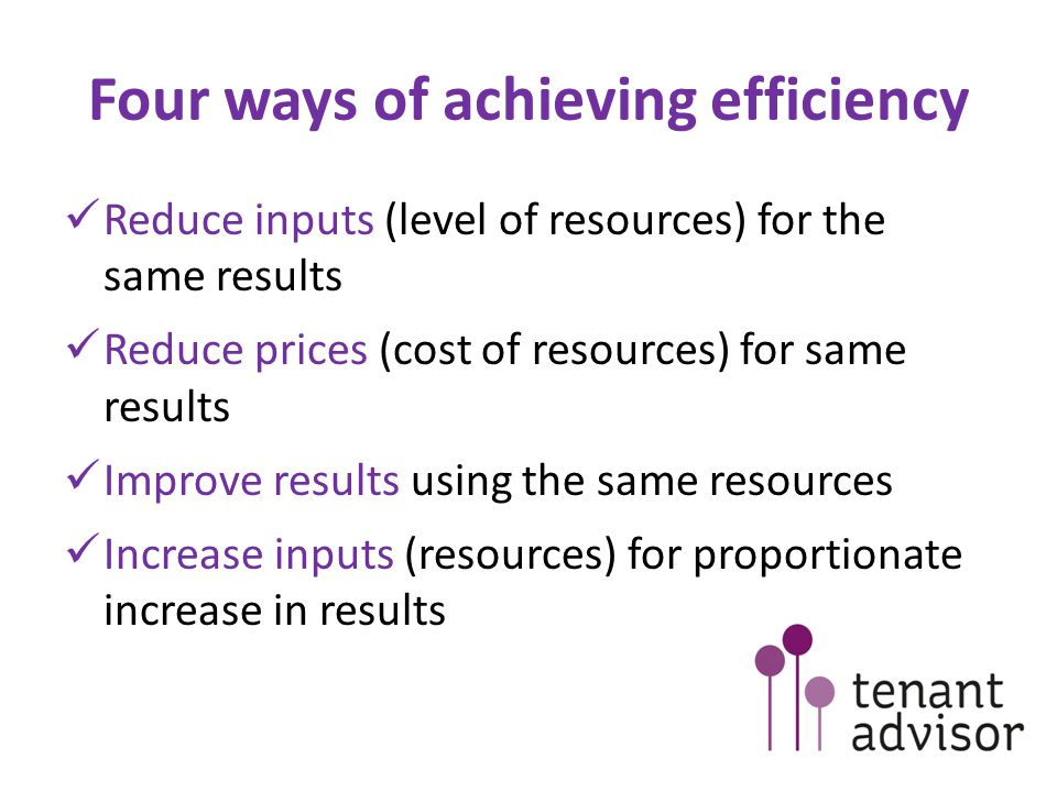 Four ways of achieving efficiency