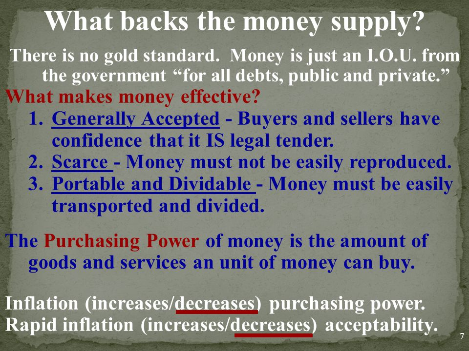 What backs the money supply