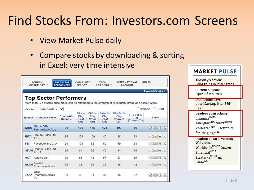 Find Stocks From: Investors.com Screens
