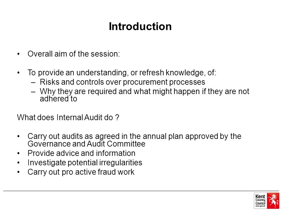 Introduction Overall aim of the session: