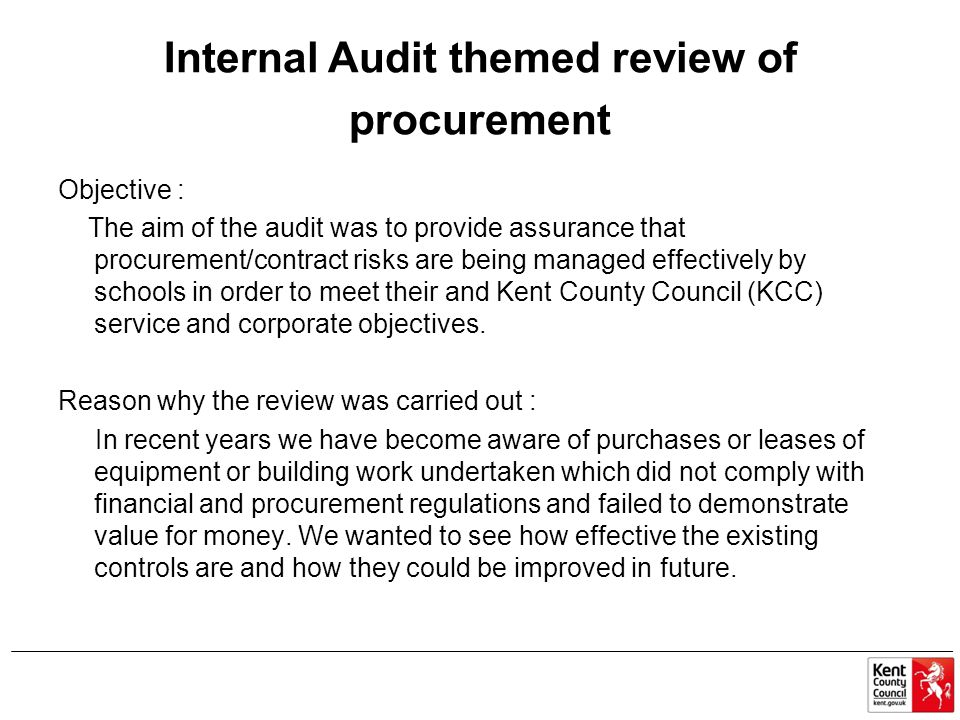 Internal Audit themed review of procurement