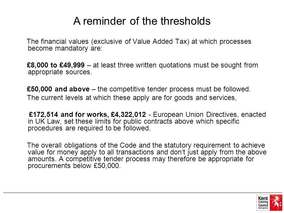 A reminder of the thresholds