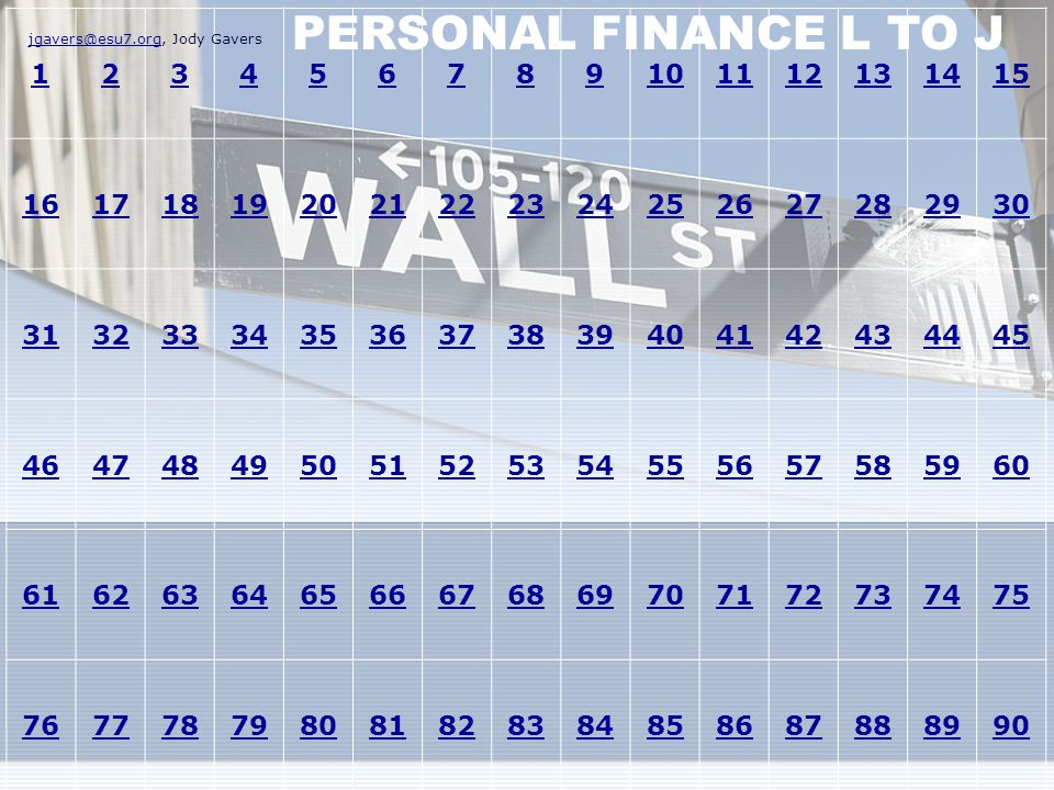 PERSONAL FINANCE L TO J 1. 2. 3. 4. 5. 6. 7. 8. 9. 10. 11. 12. 13. 14. 15. 16. 17. 18.