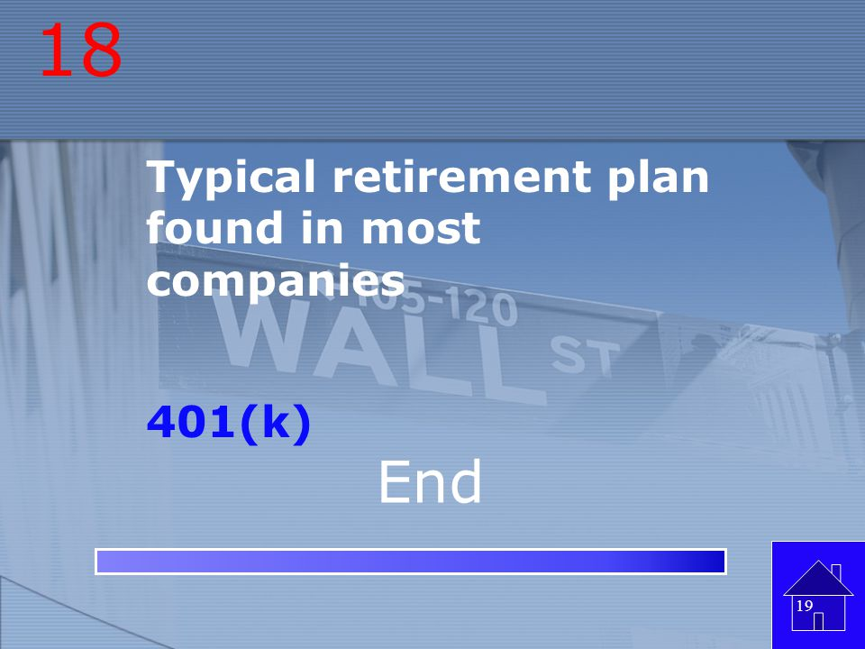 18 Typical retirement plan found in most companies 401(k) End