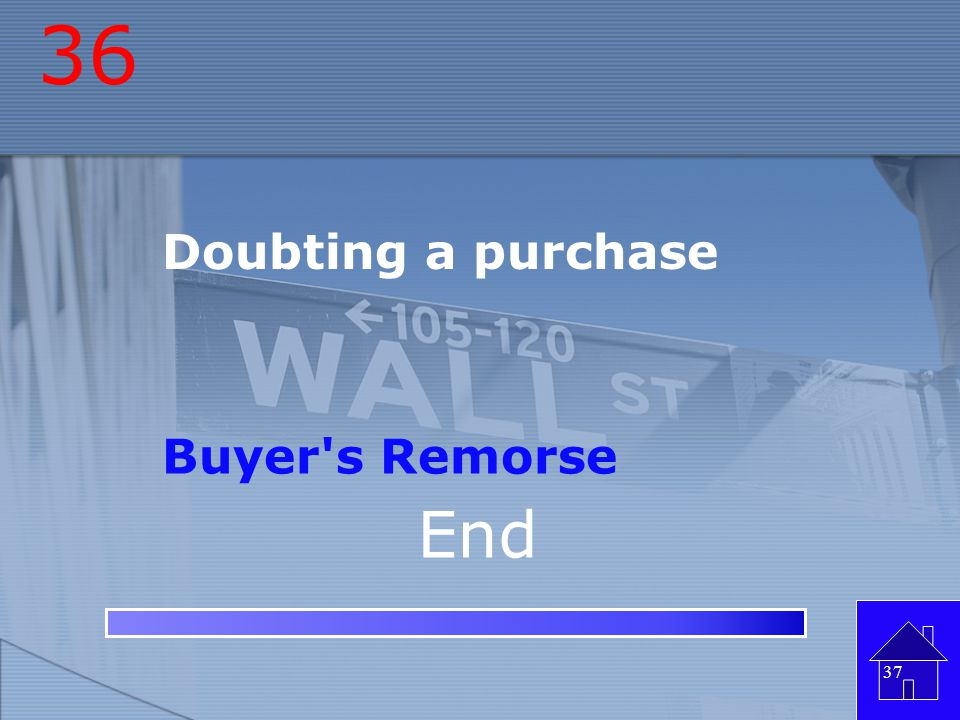 36 Doubting a purchase Buyer s Remorse End