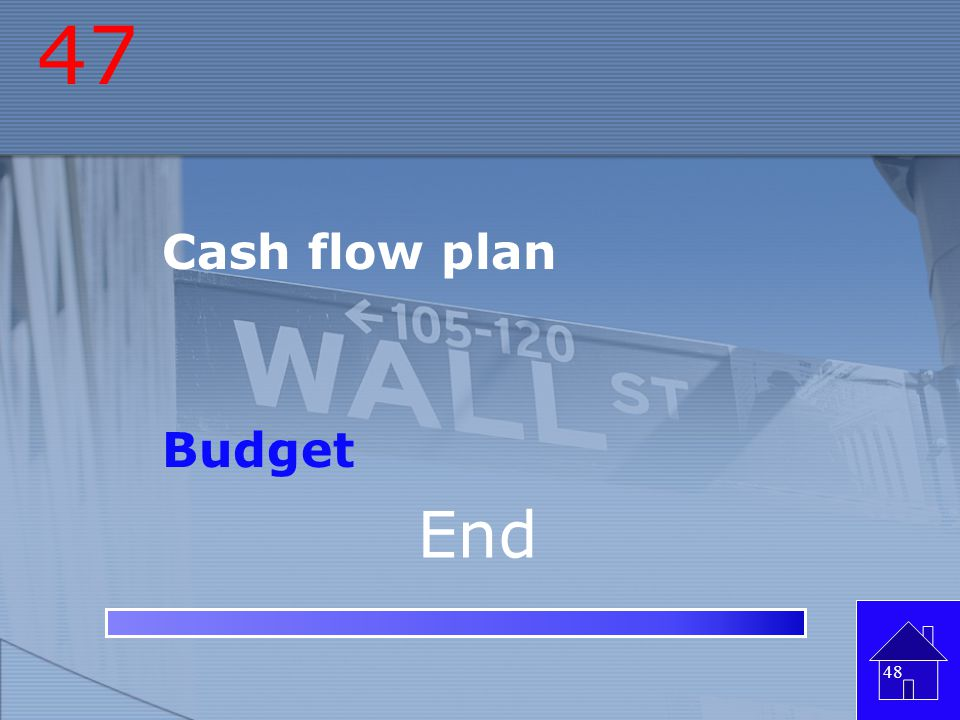 47 Cash flow plan Budget End