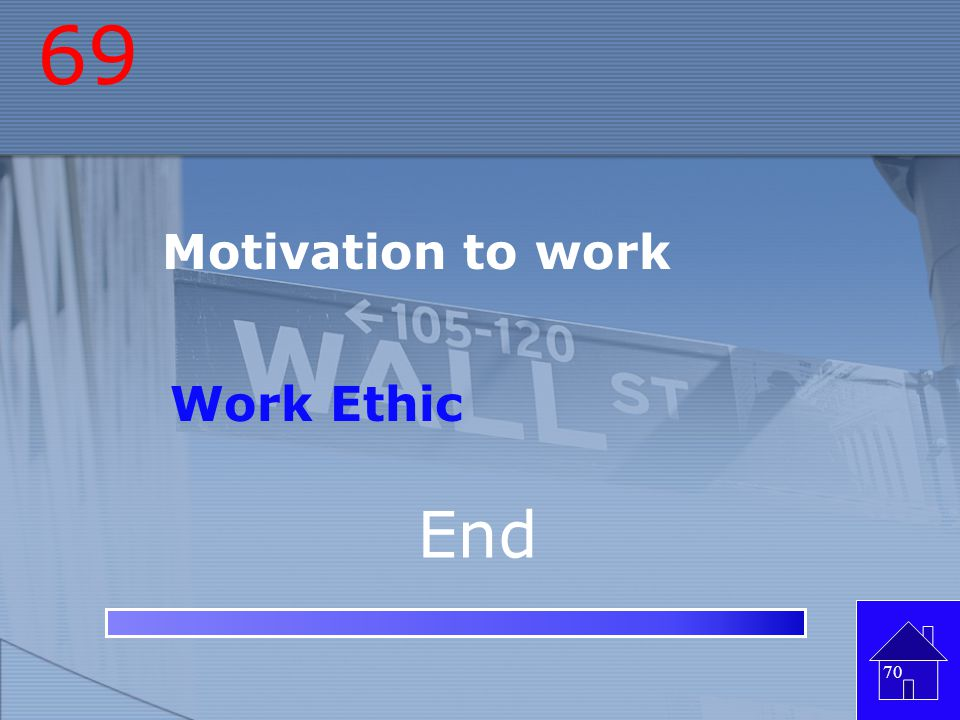 69 Motivation to work Work Ethic End