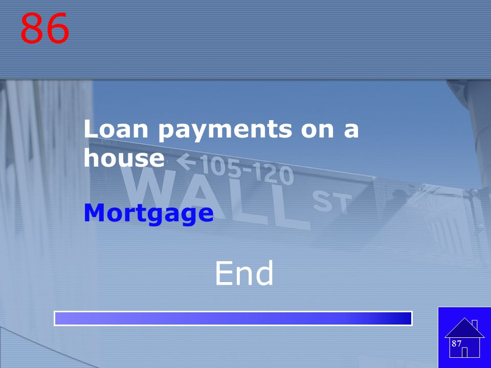 86 Loan payments on a house Mortgage End