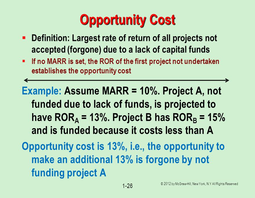 Opportunity Cost Definition: Largest rate of return of all projects not accepted (forgone) due to a lack of capital funds.