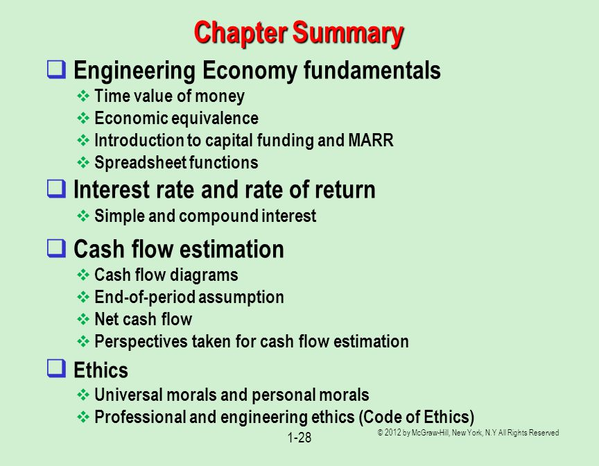 Chapter Summary Engineering Economy fundamentals
