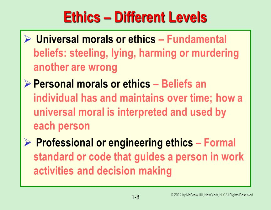 Ethics – Different Levels