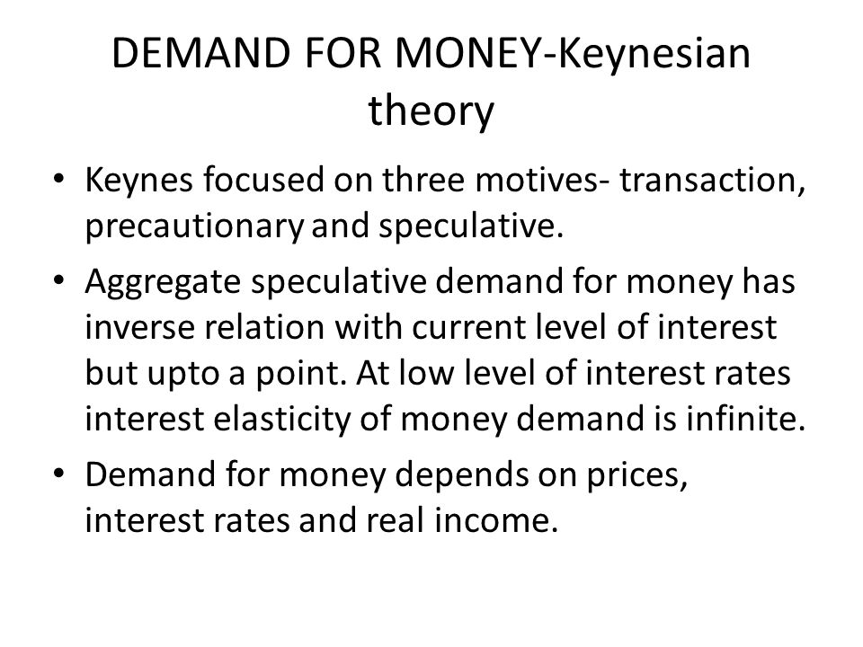DEMAND FOR MONEY-Keynesian theory