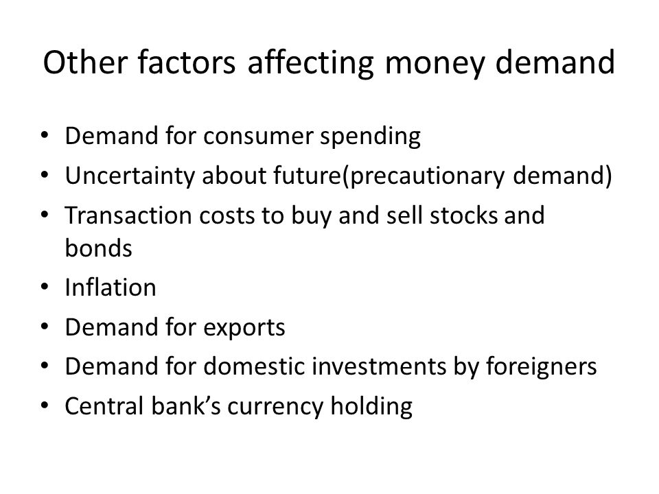 Other factors affecting money demand