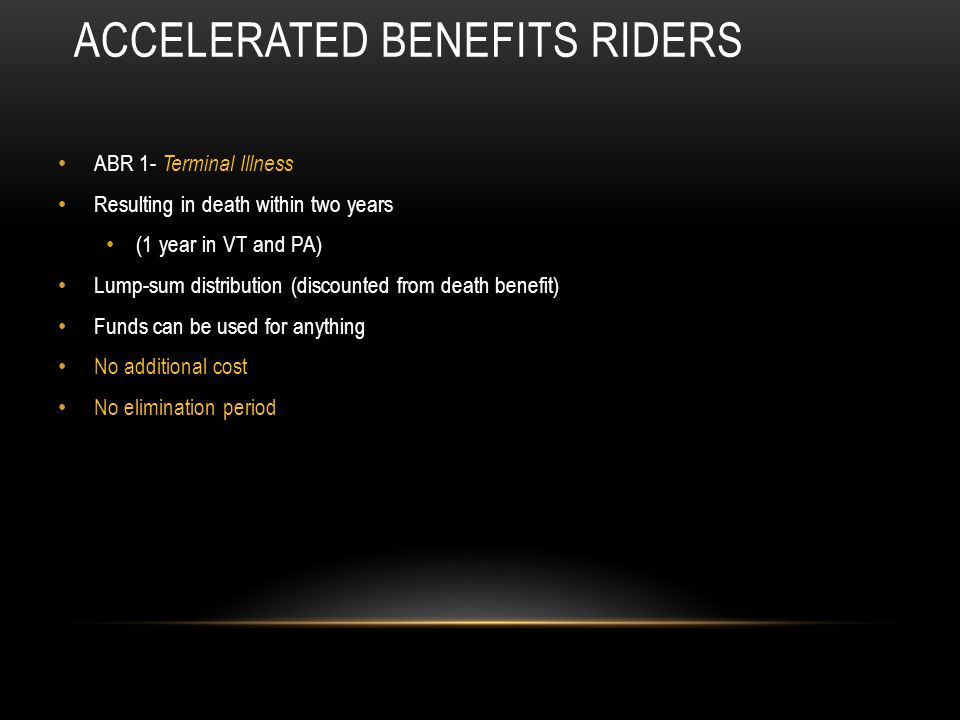 Accelerated Benefits Riders