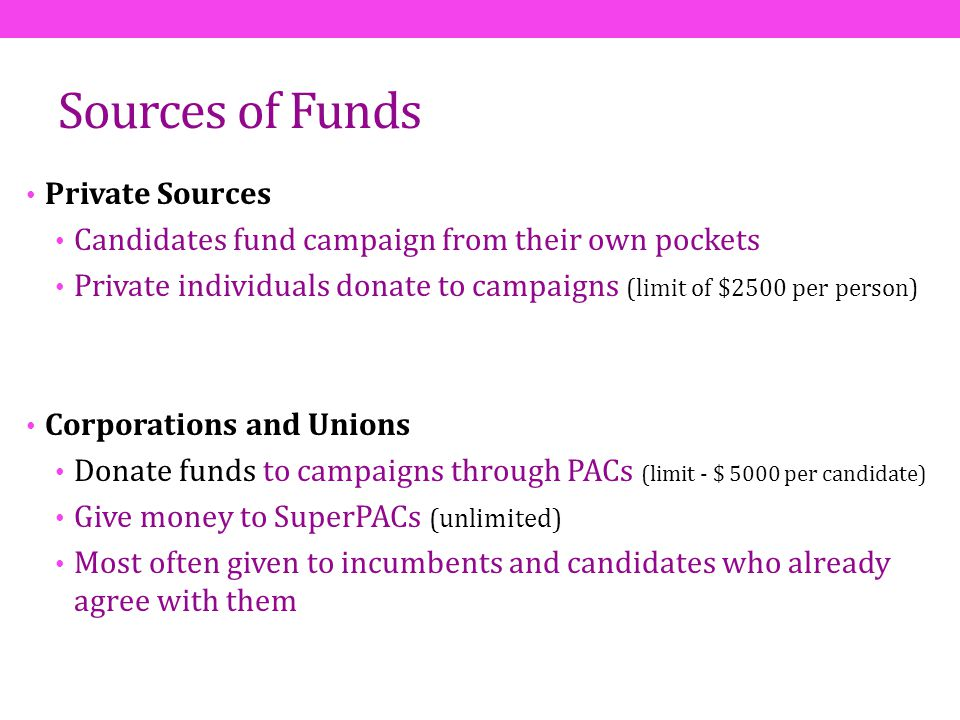 Sources of Funds Private Sources