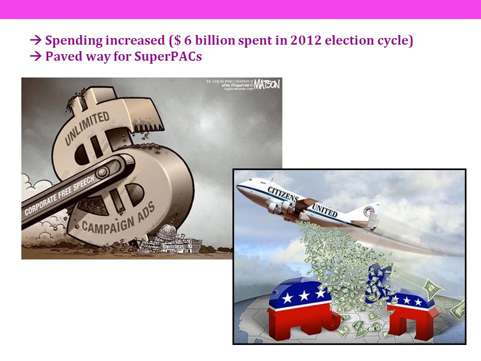  Spending increased ($ 6 billion spent in 2012 election cycle)  Paved way for SuperPACs